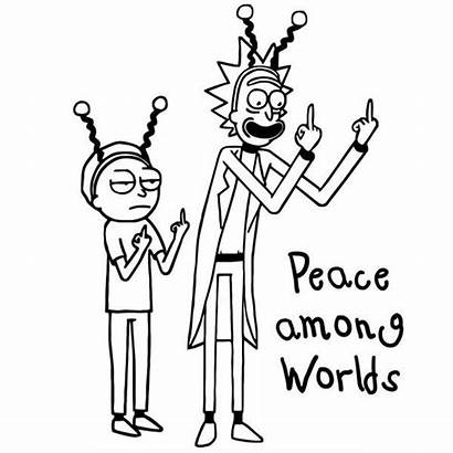 Morty Rick Coloring Pages Among Peace Worlds