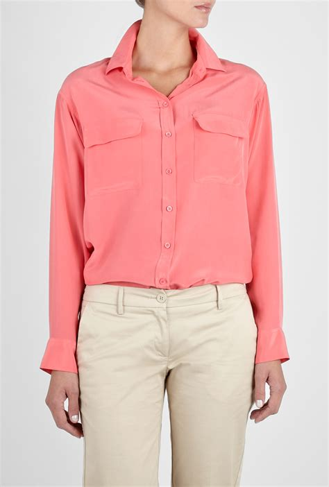 equipment silk blouse equipment coral signature silk blouse in pink coral lyst