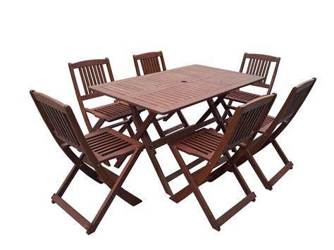 Salon de jardin bois exotique u0026quot;Hongkongu0026quot; - Table pliante + 6 chaises pliantes 66797