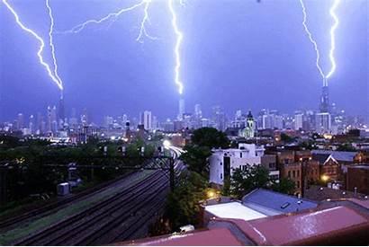 Lapse Chicago Skyline Lightning Triple Strike Captured