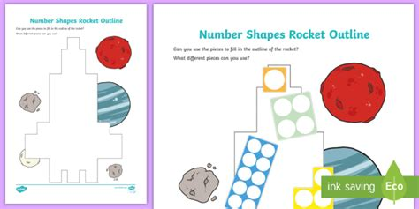 * New * Number Shapes Rocket Outline Activity  Early Years