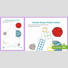 * New * Number Shapes Rocket Outline Activity  Early Years, Maths