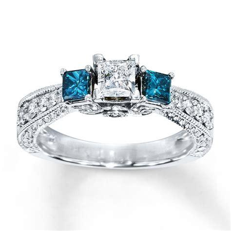 blue diamond ring  carat tw princess cut  white gold