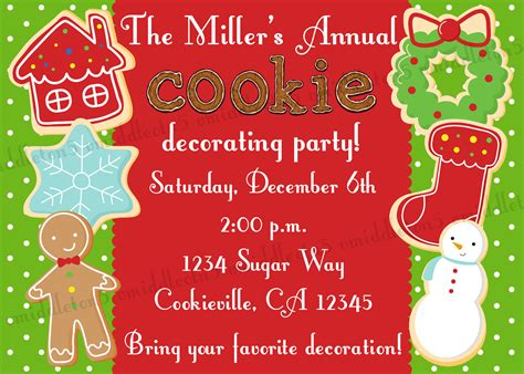 christmas cookie decorating party invitation print