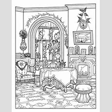Victorian Interior Style  Architecture Adult Coloring Pages