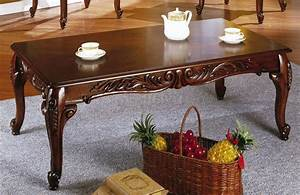 cherry finish set of 1 coffee 2 end tables w carved details With cherry finish coffee table sets