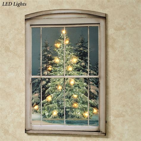 glistening pines led lighted canvas wall