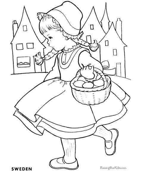 sweden girl basket coloring sheets for kids Easy