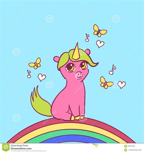 Unicorn And Butterflies Stock Vector Image 58541550