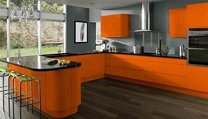 Deco cuisine gris et orange for Cuisine orange et gris
