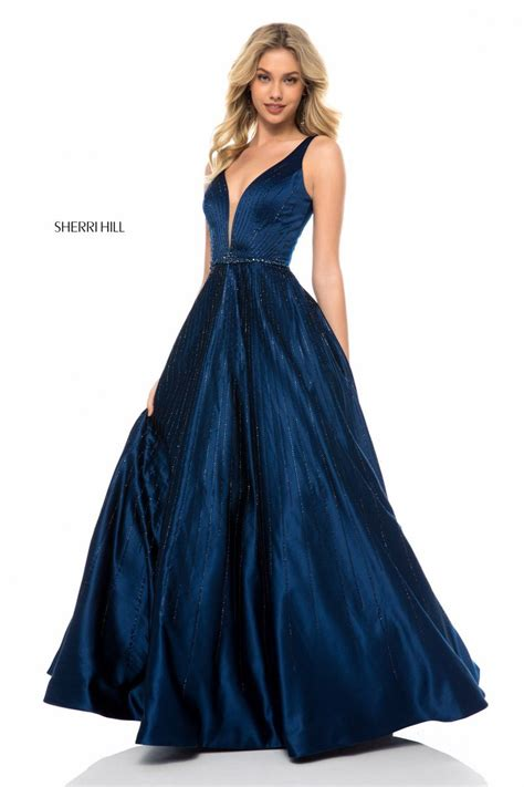 sherri hill  linear beaded prom gown french novelty
