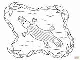 Coloring Aboriginal Pages Platypus Printable Dot Painting Drawing Colorings Crafts sketch template
