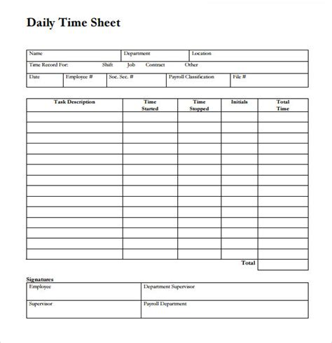 sample time sheet templates  ms word numbers