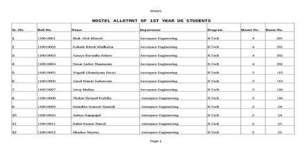 sample application  hostel allotment assignment point