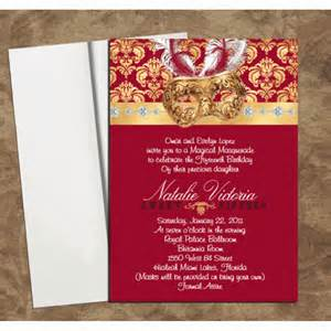 coral wedding programs burgundy gold mask invitations for quinceanera or sweet 16