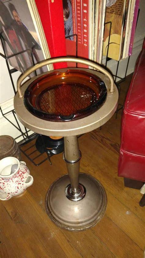 sale   stand  ashtray  amber glass ashtray vintage furniture home