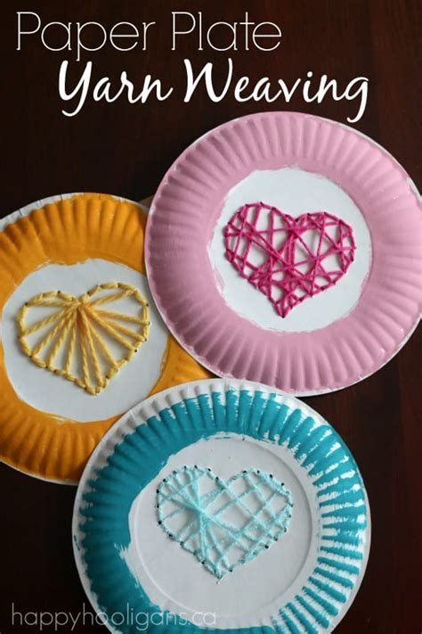 paper plate yarn weaving sewing hearts happy hooligans 466 | Paper Plate Yarn Weaving sewing hearts on paper plates for Valentines Day. Great fine motor activitiy for kids and a fun way to teach children early sewing skills Happy Hooligans