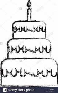 sketch draw birthday cake cartoon Stock Vector Art