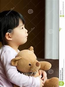 Sad Little Girl With Teddy Bear Stock Photography - Image ...