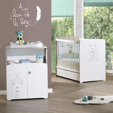 promo chambre bebe pack promo ensemble lit bébé 60x120 cm commode basile baby price pas cher à prix auchan