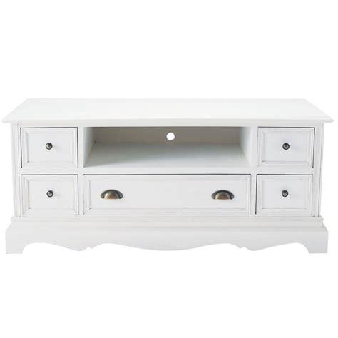 meuble tv blanc et bois meuble tv en bois de paulownia blanc l 117 cm jos 233 phine maisons du monde