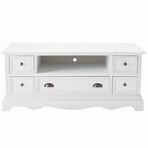 Meuble Chaussure Maison Du Monde : meuble tv en bois de paulownia blanc l 117 cm jos phine maisons du monde ~ Teatrodelosmanantiales.com Idées de Décoration