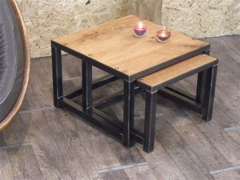 Le Sur Pied Design Industriel by Table Basse Gigogne En Bois Et M 233 Tal Industriel Micheli