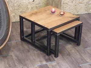 Table Basse Bois Metal : tables gigognes meuble de style industriel bois et acier sur mesure micheli design ~ Teatrodelosmanantiales.com Idées de Décoration