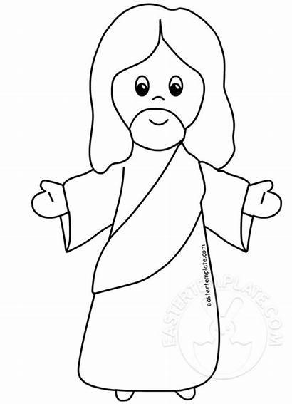 Jesus Cartoon Coloring Nazareth Easter Template Eastertemplate