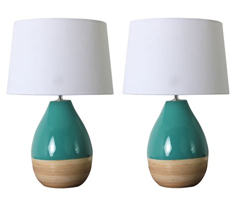 teal and white l shade pair of 2 modern teal gloss table ls with white shades