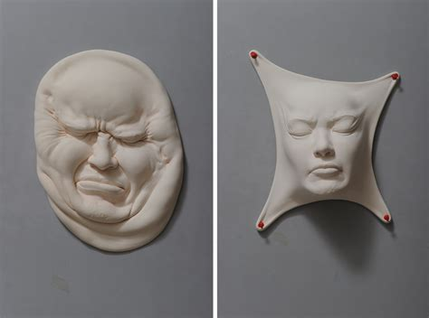 abstract porcelain clay faces  artist johnson tsang