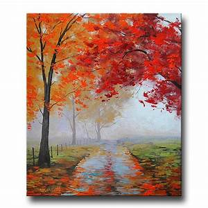 REALISTIC OIL PAINTING fall trees impressionism Misty Road Art