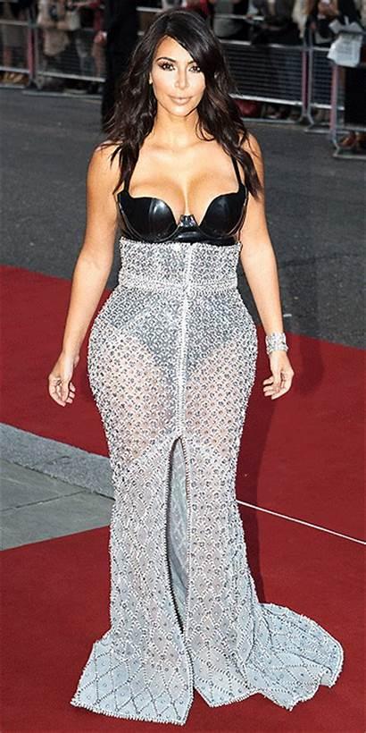 Kardashian Kim Bustier Through Chain Wears Gown