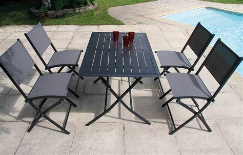 ensemble table et chaises de jardin ensemble table et 4 chaises de jardin pliantes gris foncé