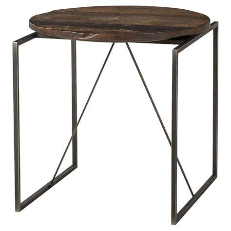 wood and metal end tables derric industrial lodge peroba wood metal end table