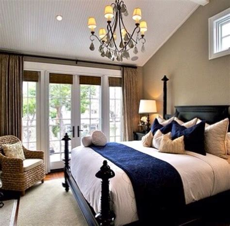 navy blue and beige bedroom foxchase