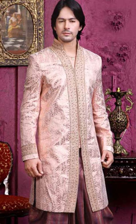wine pink brocade embroidered wedding dhoti kurta