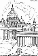 Holy Coloring Pages Peter Catholic St Paul Basilicas December Saint Rome Line Sketches Dedication Drawings Xavier Done Francis sketch template