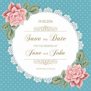 lace wedding invitation card with flower vintage vector 02 With vintage wedding invitation with lace free vector