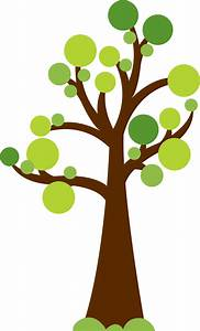 Tree with circles for leaves. Cute image for summer or ...