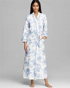 carole hochman timeless floral long robe in blue lyst With robe carole