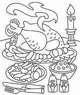 Coloring Thanksgiving Dinner Pages Sheets Christmas Colouring Printable Turkey Eating Getcoloringpages Info sketch template