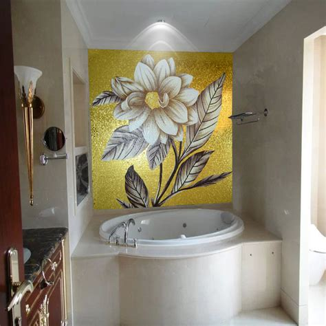 jy gmw07 golden back splash mosaic luxury flower wall mural bathroom wall decorate mural