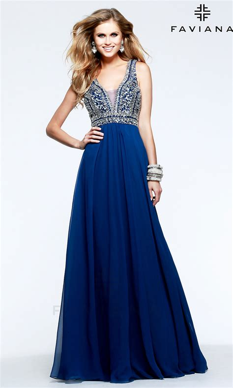 beaded  neck faviana prom dress fa