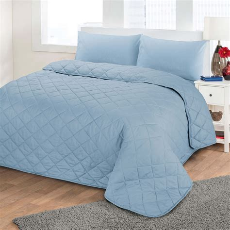 Blue Quilted Bedspread by Luxury Soft Plain Dyed Polycotton Quilted Bedspread Bed