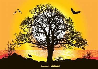 Landscape Illustration Vector Graphics Nature Clipart Sunset
