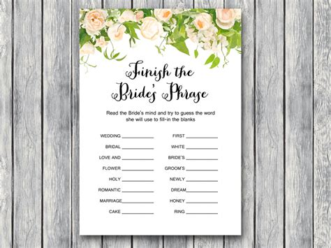 wedding shower game printable bridal shower game