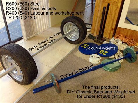 home gymcrossfit equipment custom diy  olympic tyre bumper barbell diy screw  barbell