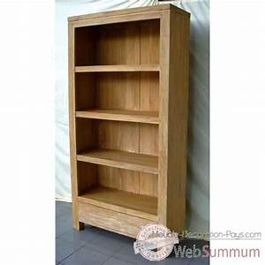 Meuble Bibliothèque Bois : bibliotheque tagere bois naturel meuble d 39 indon sie 57055 dans biblioth que ~ Teatrodelosmanantiales.com Idées de Décoration