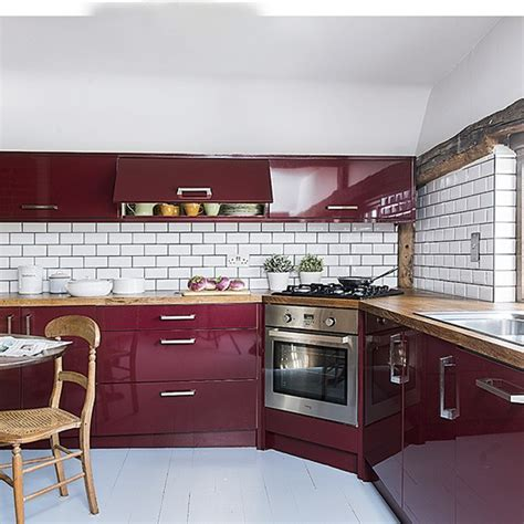 Country Kitchen With Burgundy Cabinetry  Housetohomecouk